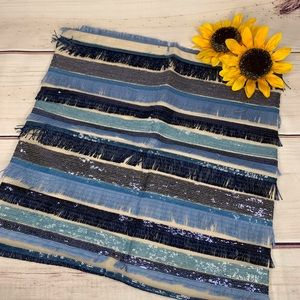 MERCHANT 21 Blue Sequin and Fringe Pillow Covers